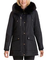 BCBGeneration Faux-fur-trim Hooded Parka - Black