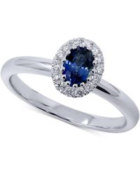 Macy's Sapphire (1/2 Ct. T.w.) & Diamond (1/5 Ct. T.w.) Oval Ring In 14k White Gold - Metallic