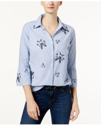 Charter Club | Cotton Embellished Bell-sleeve Shirt | Lyst