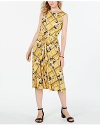 Charter Club - Belted Mixed-print Dress, Created For Macy's - Lyst