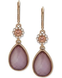 Lonna & Lilly Gold-tone Colorful Stone Double Drop Earrings - Pink