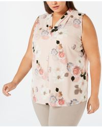 Calvin Klein - Plus Size Printed Inverted-pleat Top - Lyst