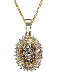 Effy Collection - Effy Cognac Diamond And White Diamond Oval Burst Pendant (3/4 Ct. T.w.) In 14k Gold - Lyst