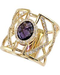 Effy Collection - Geo Effy Diamond (5/8 Ct. T.w.) And Amethyst Ring (2-7/8 Ct. T.w.) In 14k Gold - Lyst