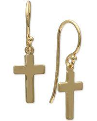 Giani Bernini - Cross Drop Earrings In 18k Gold-plated Sterling Silver, Created For Macy's - Lyst