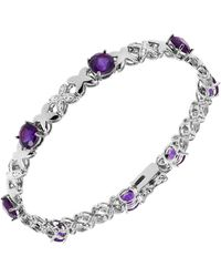 Macy's Amethyst (5 1/5 Ct. T.w.) And Diamond Accent Bracelet In Sterling Silver - Purple