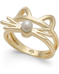 Kate Spade - Gold-tone & Imitation Pearl Cat Ring - Lyst