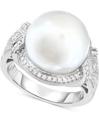 Macy's - Cultured South Sea Pearl (13mm) & Diamond (1/3 Ct. T.w.) Ring In 14k White Gold - Lyst