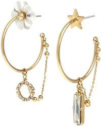BCBGeneration - Flower & Star Asymmetrical Hoop Earrings - Lyst
