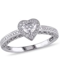 Macy's - Certified Diamond (1/2 Ct. T.w.) Heart-shape Halo Engagement Ring In 14k White Gold - Lyst