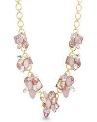 Catherine Malandrino - Pink Rhinestone Yellow Gold-tone Cluster Style Necklace - Lyst