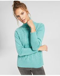 Charter Club Cashmere Mixed-stitch Turtleneck Sweater, In Regular And Petites, Created For Macy's - Green