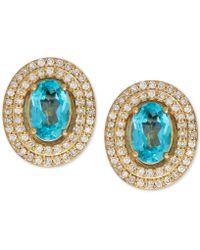 Macy's - Apatite (1 Ct. T.w.) And Diamond (1/4 Ct. T.w.) Stud Earrings In 14k Gold - Lyst