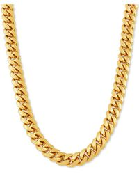 """Macy's Cuban Link 26"""" Chain Necklace In 18k Gold-plated Sterling Silver - Metallic"""
