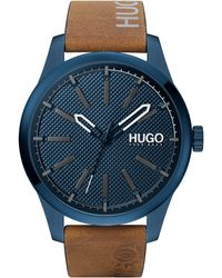 HUGO #invent Stainless Steel Quartz Watch With Leather Calfskin Strap - Brown