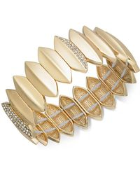 INC International Concepts | Gold-tone Pavé Leaf Stretch Bracelet | Lyst