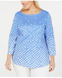 aad5c49dd2c Charter Club - Plus Size Printed Cotton 3 4-sleeve Top