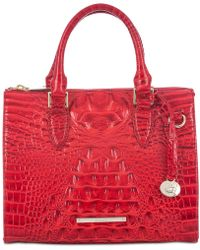 Brahmin Anywhere Convertible Melbourne Embossed Leather Satchel - Red