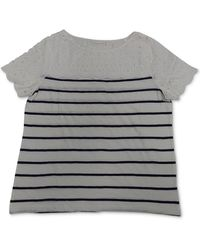 Charter Club Petite Striped Cotton Eyelet Top, Created For Macy's - Multicolor