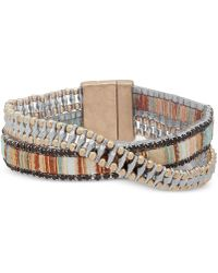 Lonna & Lilly Two-tone & Fabric Crystal Double-row Wrap Bracelet - Natural