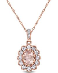 """Macy's Morganite (3/4 Ct. T.w.) White Sapphire (5/8 Ct. T.w.) And Diamond (1/10 Ct. T.w.) Floral 17"""" Necklace In 10k Rose Gold - Multicolour"""