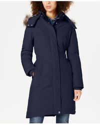 Tommy Hilfiger Faux-fur-trim Hooded Water-resistant Puffer Coat - Blue