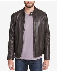 Marc New York Men's Leather Moto Jacket - Brown