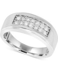 Macy's - Men's Diamond Ring (1/2 Ct. T.w.) In 10k White Gold - Lyst