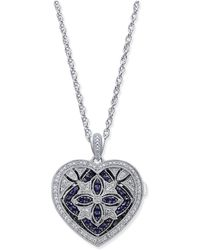 Macy's - Sapphire (1/2 Ct. T.w.) And Diamond (1/7 Ct. T.w.) Heart Pendant Necklace In Sterling Silver - Lyst