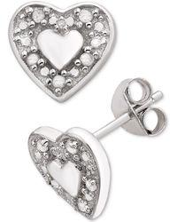 Macy's - Diamond Heart Stud Earrings (1/10 Ct. T.w.) In Sterling Silver - Lyst