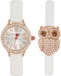 Betsey Johnson - Women's White Imitation Leather Strap Watch & Bracelet Set 30mm Bj00536-38 - Lyst