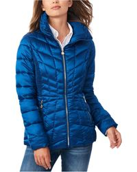 Bernardo Quilted Packable Water-resistant Puffer Coat - Blue