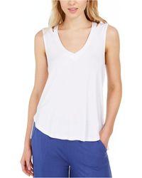 Vera Bradley Split Shoulder Sleep Tank - White
