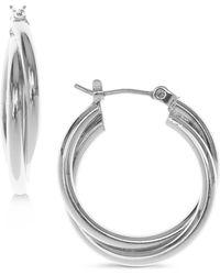 "Nine West - Silver-tone 1/3"" Twisted Hoop Earrings - Lyst"