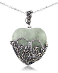 "Macy's - Green Jade (24 X 24mm) & Marcasite Heart Pendant On 18"" Chain In Sterling Silver - Lyst"