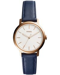 Fossil - Neely Navy Leather Strap Watch 34mm - Lyst