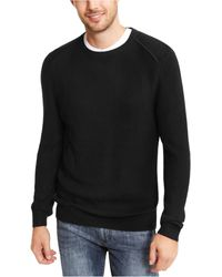 INC International Concepts Sway Textured Knit Sweater, Created For Macy's - Black