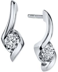 Sirena - Diamond Twist Drop Earrings (1/8 Ct. T.w.) In 14k White Gold - Lyst
