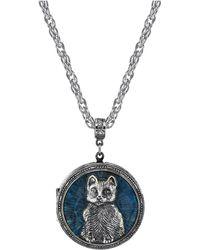"2028 Pewter Cat Locket With Blue Enamel Necklace 30"""