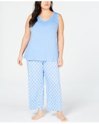 Charter Club Plus Size Tank And Cropped Pants Pyjama Set, Created For Macy's - Blue