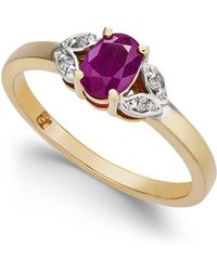 Macy's Ruby (5/8 Ct. T.w.) & Diamond Accent Ring In 14k Gold - Red