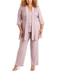 R & M Richards Plus Size Embellished Lace Jacket, Top & Pants - Purple