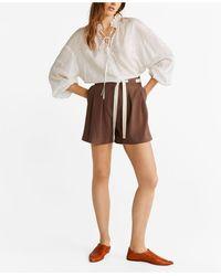 Mango High-waist Shorts - Brown