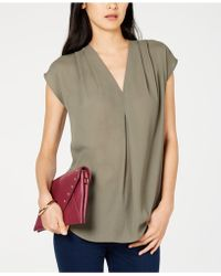 INC International Concepts - I.n.c. Inverted-pleat V-neck Top, Created For Macy's - Lyst