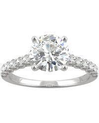 Charles & Colvard Moissanite Engagement Ring (1-9/10 Ct. T.w. Dew) In 14k White Gold - Metallic