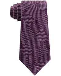 Michael Kors Textured Geometric Patchwork Tie - Purple