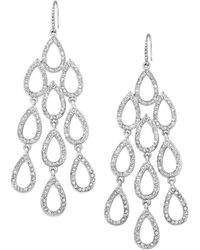 ABS By Allen Schwartz - Earrings, Silver-tone Pave Crystal Large Chandelier Earrings - Lyst