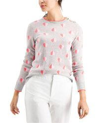 Charter Club Printed Button-shoulder Sweater, Created For Macy's - Pink