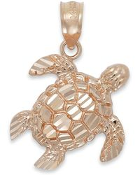 Macy's Diamond-cut Turtle Charm In 14k Rose Gold - Pink