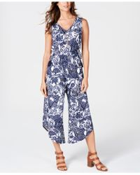 Style & Co. Printed Drawstring-waist Jumpsuit, Created For Macy's - Blue